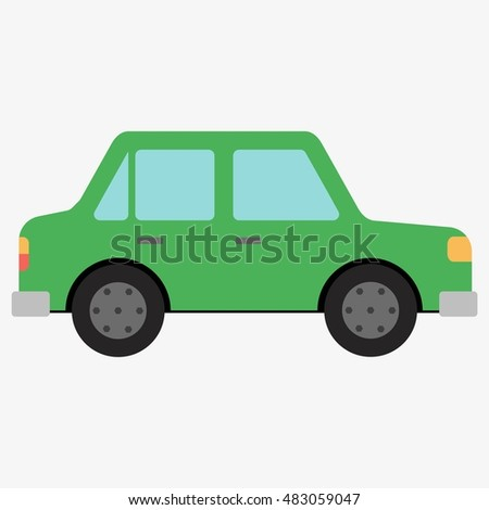 Green car icon isolated on white background. Flat design