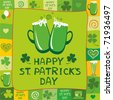 Green card with Beer mugs and the text St. Patrick's Day written inside, vector illustration - stock vector