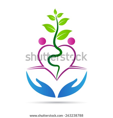Green care vector design represents save and love nature concept. - stock vector