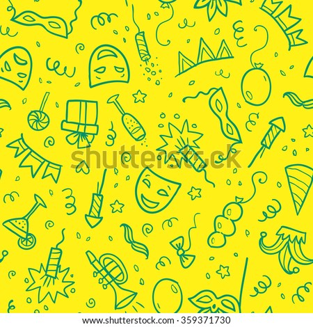 Green carnival symbols in doodle style on yellow background, vector seamless pattern - stock vector