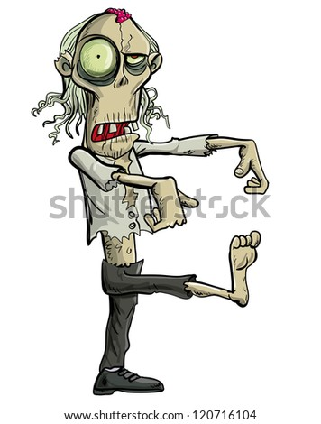 Green cartoon businessman zombie. Isolated on white - stock vector