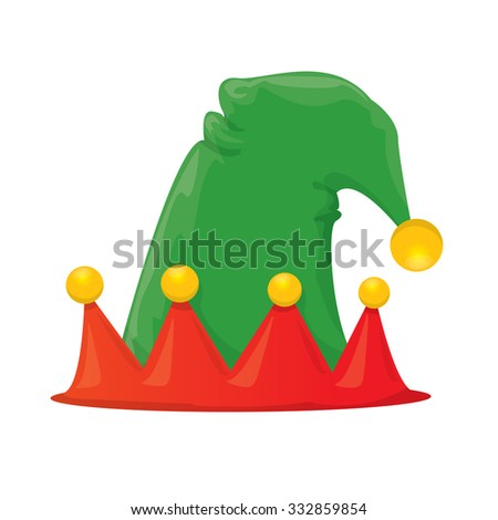 green cartoon christmas elf hat. vector illustration
