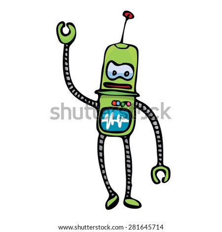 green Cartoon doodle Robot on white. kids drawing style