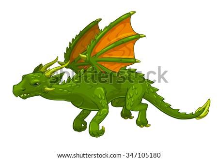 Green cartoon fantasy dragon, isolated on white, vector illustration - stock vector