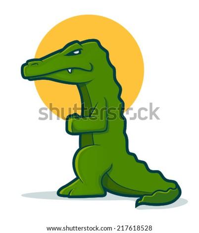 Green cartoon gator standing up/Alligator Vector - stock vector