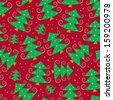 Green Cartoon Simple Christmas Tree on Red Seamless Pattern. New Year Background - stock photo