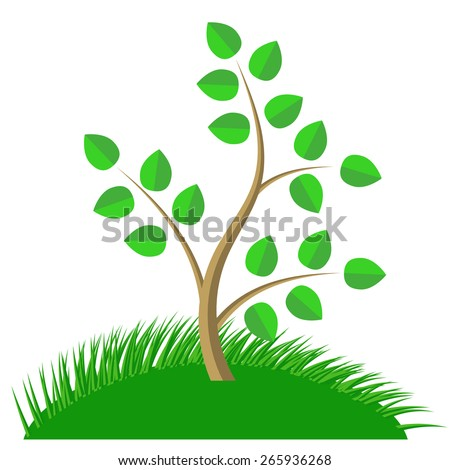 Green Cartoon Tree and Green Grass isolated on White Background.  - stock vector