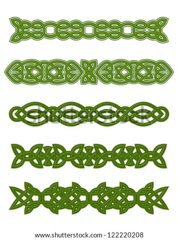 Green celtic ornaments and embellishments for design and decorate. Jpeg version also available in gallery - stock vector