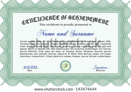 Green certificate, diploma or coupon template