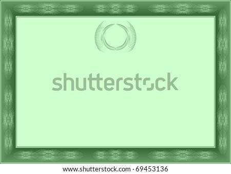 Green certificate. Form of certificate or rewarding of green color. - stock vector