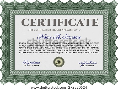 Green certificate or diploma template with complex border design and sample text - stock vector