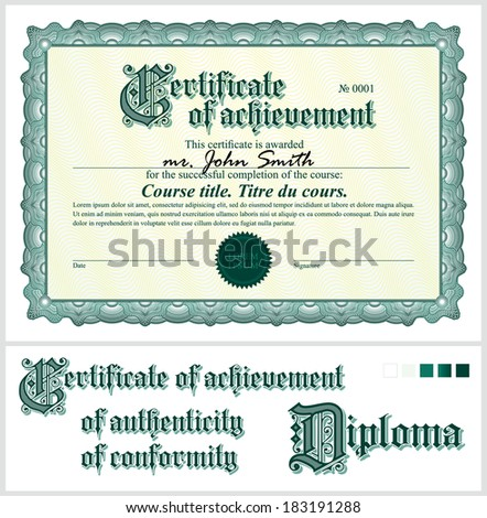 Vector Illustration Green Certificate Template Horizontal Stock