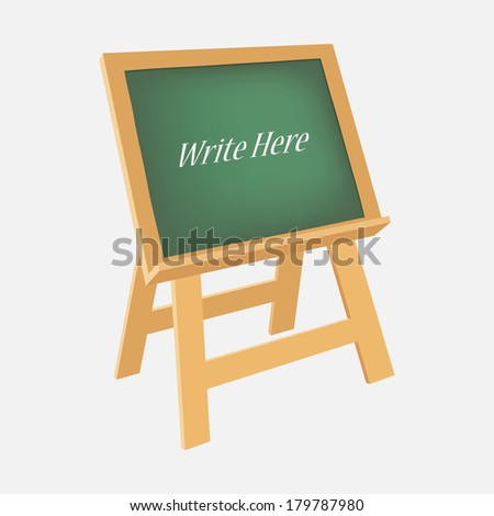 Green chalkboard stand, illustration vector design. - stock vector