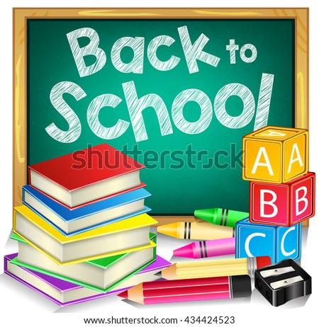 Green Chalkboard with Back to School Text and School Items Isolated in White Background. Vector Illustration