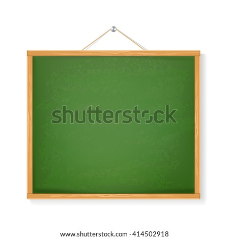 green chalkboard with shadow isolated over white background. vector - stock vector