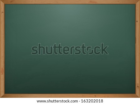 Green Chalkboard With Spot Light And Wooden Frame - stock vector