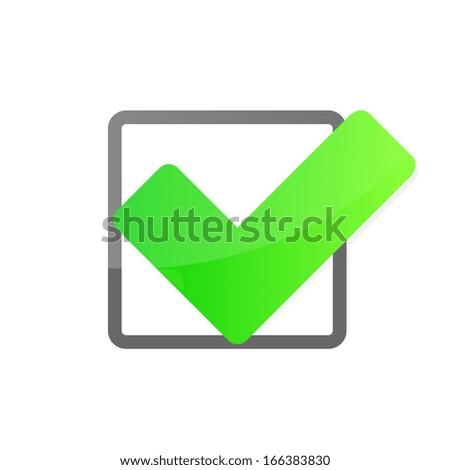 Green check box with check mark. Vector illustration - stock vector