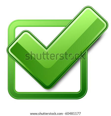 Green check box with check mark. Vector illustration - stock vector