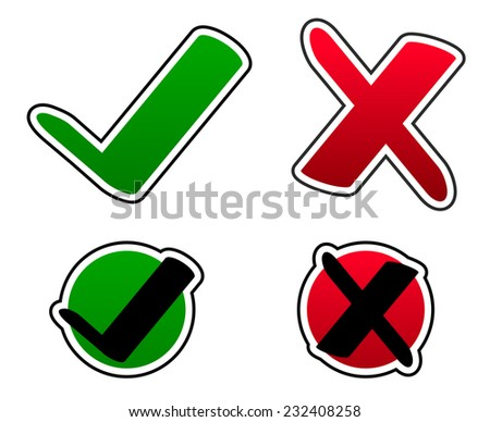 Green check mark and red cross set - stock vector