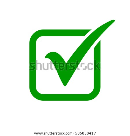 green check mark icon box tick stockvektorgrafik