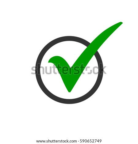 Green Check Mark Icon Circle Tick Stock Vector 590652749 Shutterstock