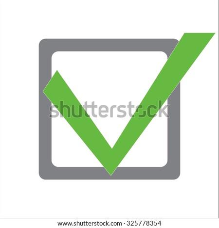 Green check mark in a gray square. - stock vector