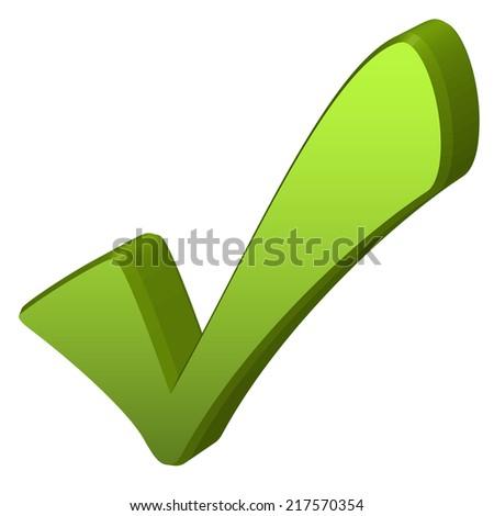 Green check mark in 3D - stock vector