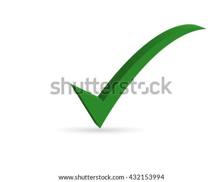 Green check mark symbol. - stock vector