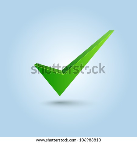 Green check mark symbol isolated on blue background - stock vector