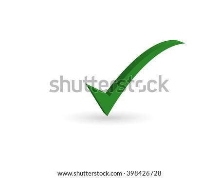 Green check mark symbol on white background. - stock vector
