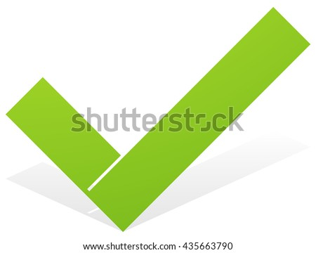 Green check mark, tick icon with snick and shadow isolated on white. Approve, OK, correct, confirm icon - stock vector