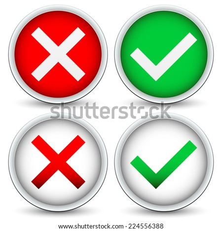 "Green Checkmark and red ""x"", cross concepts on circles - stock vector"