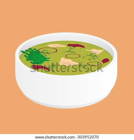 Green Chicken Curry Soup - stock vector