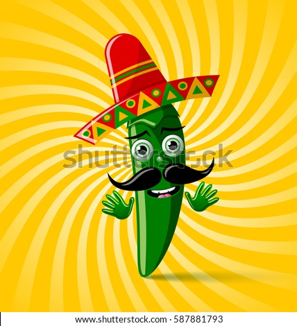 stock vector green chilli pepper character with sombrero hat on twisted background 587881793