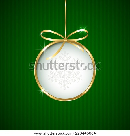 Green Christmas background with ball and golden ribbon, illustration. - stock vector