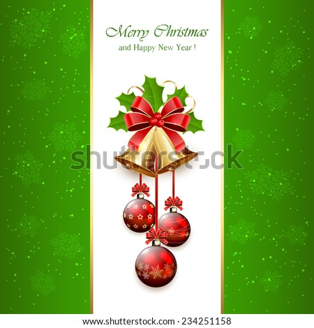 Green Christmas background with golden bells, red bow, balls, tinsel and Holly berries, illustration. - stock vector