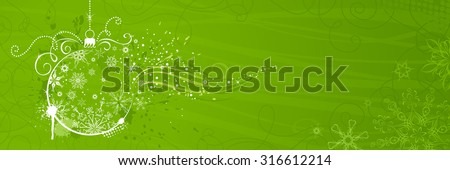 Green Christmas banner. Horizontal background with snowflakes, Christmas tree decorations and grunge elements for your design. There is copy space for your text.  - stock vector