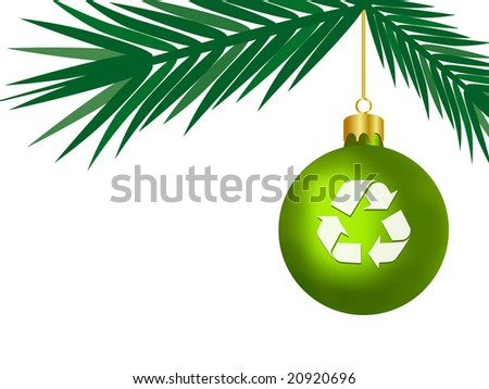 Green Christmas Concept -  Christmas Bauble with Recycling Symbol - Vector - stock vector