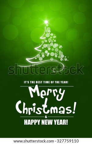 Green Christmas Greeting Card. Merry Christmas lettering.