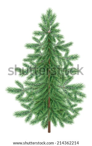 Green Christmas spruce fir tree isolated on white background. Eps10, contains transparencies. Vector - stock vector