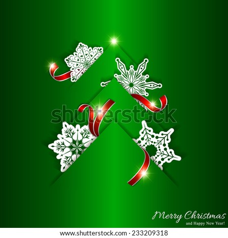 Green Christmas Tree Background with White Snowflake - stock vector