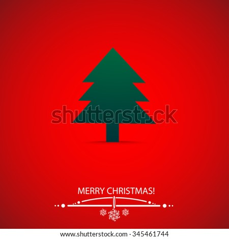 green christmas tree on red background - stock vector