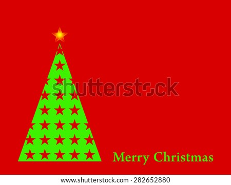 Green Christmas tree with star on red background