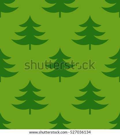 Green Christmas trees seamless pattern illustration