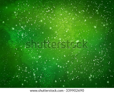 Green Christmas watercolor grunge background with falling snow and light sparkles. - stock vector