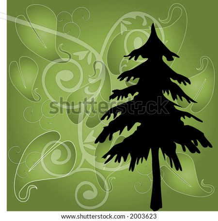 green christmas with filigree and tree - stock vector