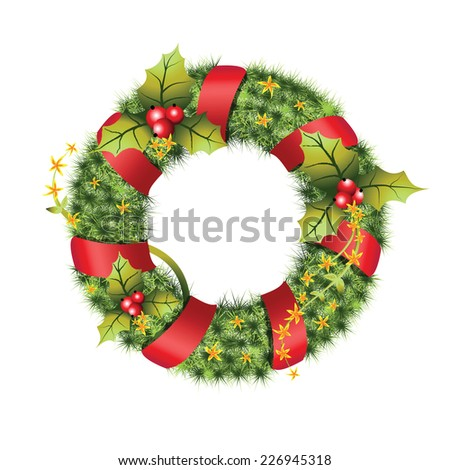 green christmas wreath with decorations isolated on white background. Vector illustration.