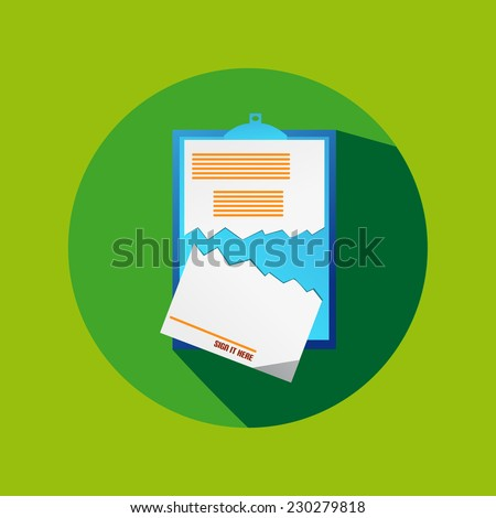 Green Circle Flat Cancel Contract Icon - stock vector
