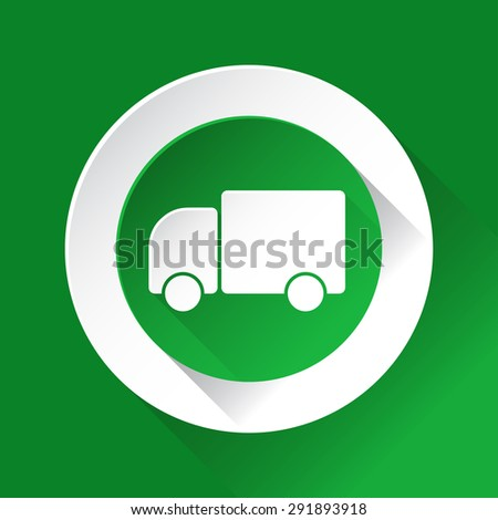 green circle shiny icon with white contour on a green background - lorry car - stock vector