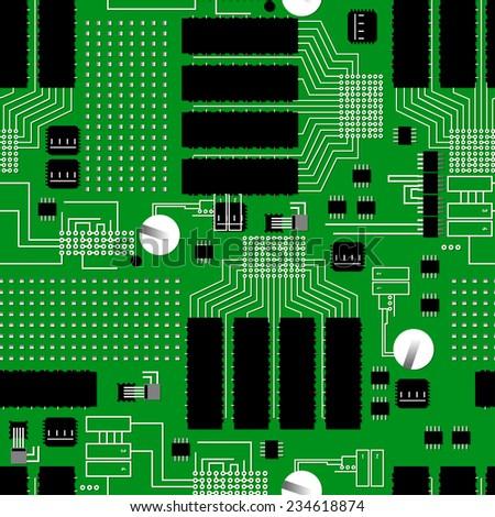 Green circuit board seamless pattern - stock vector